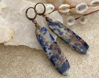 Sodalite Stone Earrings | natural blue earth jewelry
