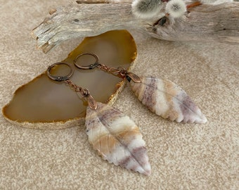 Tupelo Honey Leaf earrings | natural carved earth stone jewelry
