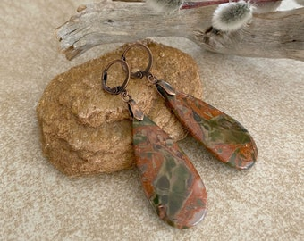 Warring States Agate earrings   natural stone jewelry
