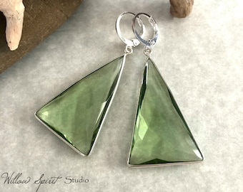 Green Amethyst Earrings | natural 925 silver and stone jewelry