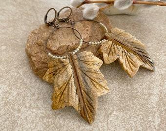 Maple Leaf Jasper earrings | natural landscape earth stone jewelry