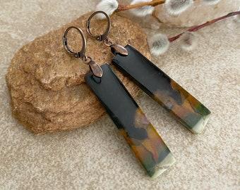 Flame Jasper Earrings | natural fire jasper earth stone jewelry