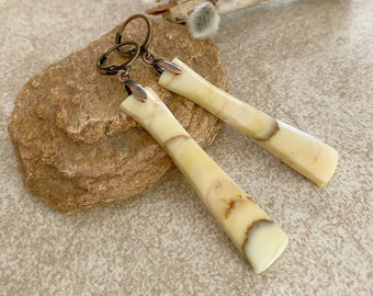 Golden Feldspar Earrings | natural earth stone jewelry