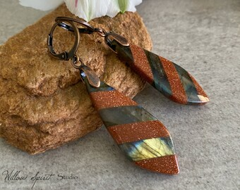 Labradorite Goldstone Earrings | natural earth stone jewelry