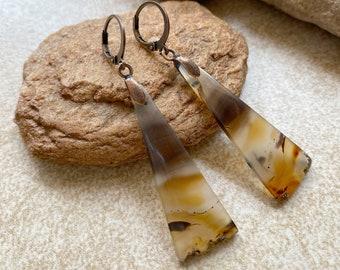 Montana Agate Earrings   natural earth stone jewelry