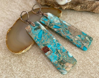 Turquoise Mohave Jasper earrings | copper pyrite blue stone jewelry