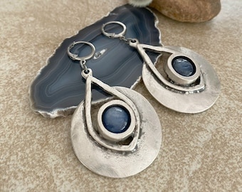 Soul Dancer Earrings | blue kyanite in creative industrial jewelry