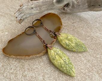 Serpentine Leaf Earrings | natural green earth stone jewelry