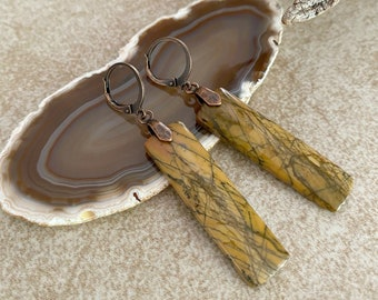 Apache Jasper Earrings | natural black feather earth stone jewelry