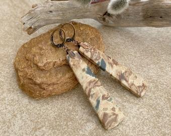 Mexican Jasper Stone earrings   natural earth desert jewelry