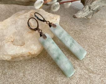 Mountain Jade Earrings | natural Zen stone earthy jewelry