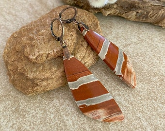 River Jasper Earrings  | natural red earth stone jewelry