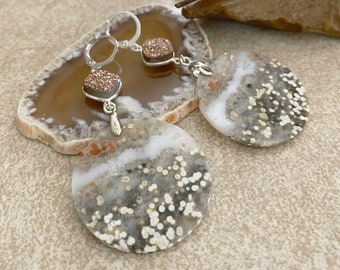 Mother Earth Stone earrings | natural ocean jasper jewelry