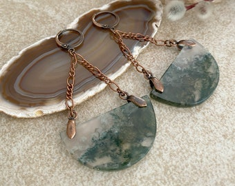 Moss Agate Drop earrings | natural raw earth stones of abundance