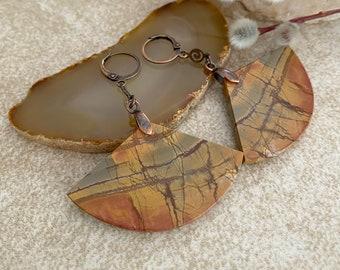 Scenic Jasper Fan earrings   natural earth stone jewelry
