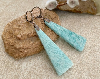 Blue Amazonite Earrings | natural aqua earth stone jewelry