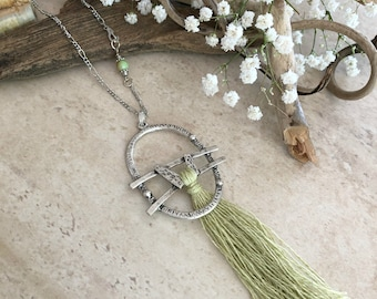 Pale Green Tassel necklace | long layering boho luxe silver jewelry with chrysoprase stone bead