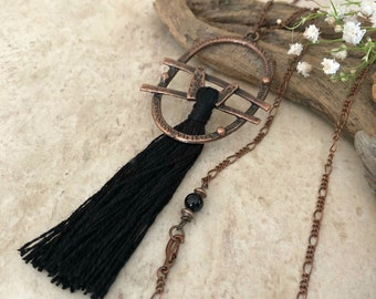 Black Tassel Necklace | long layering copper boho jewelry with obsidian bead