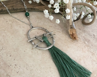 Forest Green Tassel necklace | long layering boho luxe silver jewelry with malachite stone bead