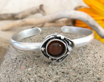 Carnelian Stone Cuff bracelet in antique brushed silver over brass