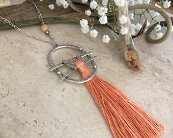 Coral Tassel Necklace | long boho luxe silver jewelry with natural moonstone bead