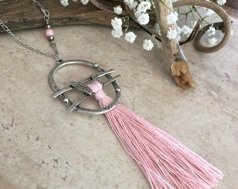Blush Pink Tassel necklace | long layering silver boho luxe jewelry with conch shell bead