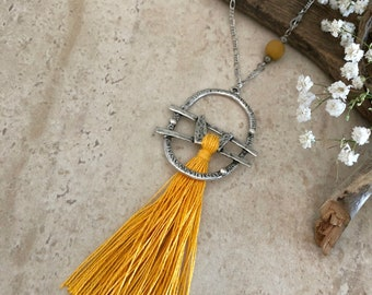 Yellow Tassel Necklace | long layering boho luxe tribal jewelry with mookaite jasper stone bead