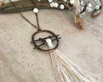 White Sands Tassel necklace | long layering boho luxe copper jewelry with howlite stone bead