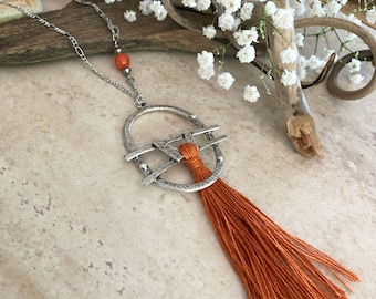 Rust Linen Tassel necklace | long boho luxe silver jewelry with natural carnelian stone bead