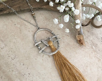 Gold Tassel Necklace | long layering boho luxe silver jewelry with desert jasper bead