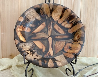 Handcrafted Wood bowl natural Oregon driftwood and smoke brown eco friendly resin
