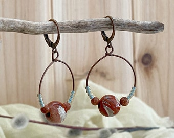 River Jasper in Copper hoop earrings | natural red earth stone jewelry