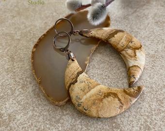 Desert Jasper Moon phase earrings | natural earth stone jewelry