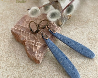 Coral Earrings | Natural indigo blue fossil jewelry