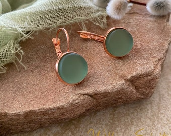 Cultured Mist Sea glass earrings in rose gold plated bezel sets