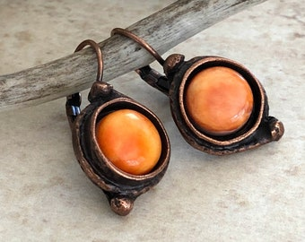 Spiny Oyster Earrings | sea shell jewelry in antique copper bezel sets