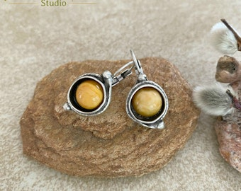 Butterscotch Amber Earrings | stone jewelry in silver bezel sets