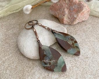 Chrysoprase Dangle Earrings | natural earth stone earrings