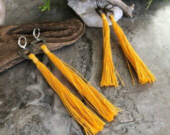 Sunshine Yellow Tassel earrings   hand spun linen fiber