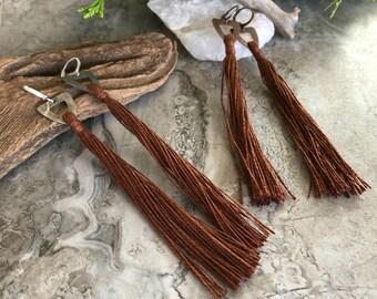 Brown Tassel Earrings   hand spun linen fiber   color therapy