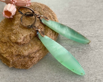 Chrysoprase Earrings | natural green earth stone jewelry