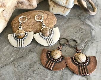 Tribal Fan Earrings | picture jasper in copper or silver jewelry