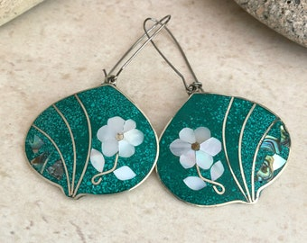 Cloisonne Flower Earrings in silver with turquoise and abalone shells