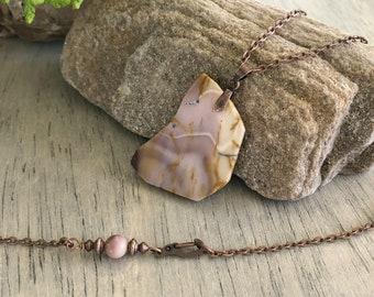 Raw Mookaite Jasper necklace | natural stone jewelry talisman