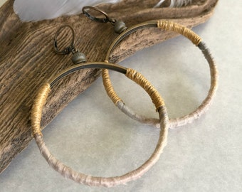 Sari Silk Hoop earrings | gold and gray fabric natural jewelry