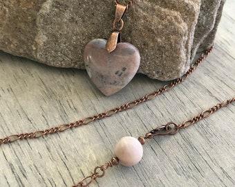 Quartz Agate Necklace | natural pink blush heart stone jewelry