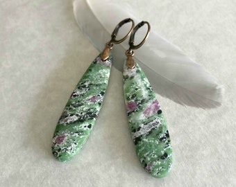 Ruby in Zoisite earrings | natural earth stone jewelry