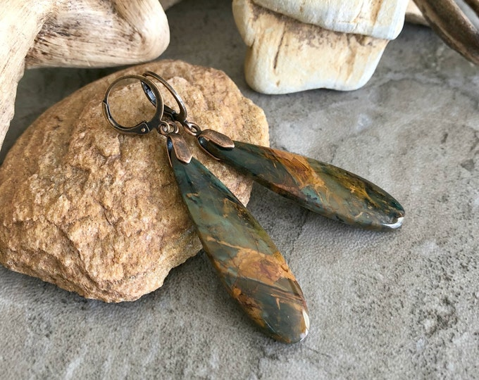 Featured listing image: Green Opal Earrings | natural forest earth stone jewelry