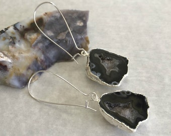 Geode Agate Earrings | natural raw druzy in silver jewelry