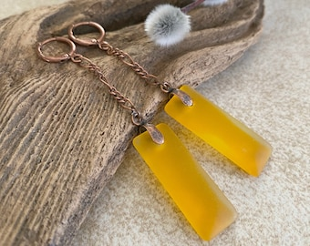 Marigold Dangle Sea glass earrings | long simple jewelry